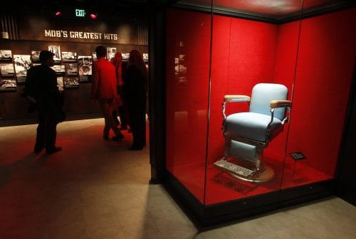 The barber chair where Murder Inc. head Albert Anastasia was killed is on display at The Mob Museum Monday, Feb. 13, 2012, in Las Vegas. Las Vegas has long been enamored with its gangster roots. (AP Photo/Isaac Brekken)